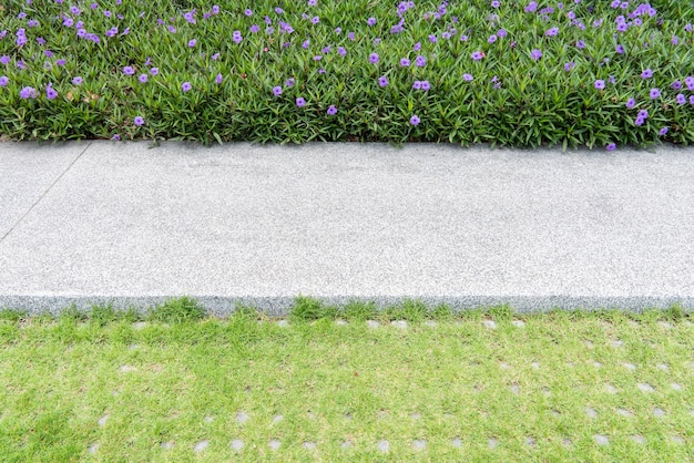 Walkway in garden, beautiful park with flowerbed and gravel path