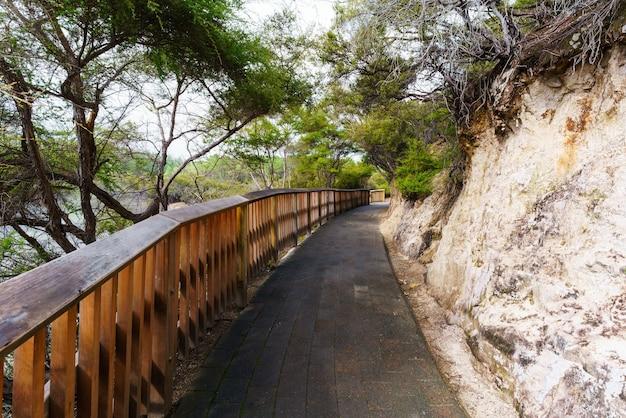 The walkway leading to wai-o-tapu geothermal area , rotorua, north island of new zealand