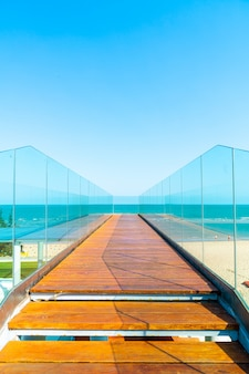 Walkway and stair with ocean sea view point background
