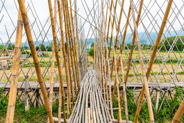 Walkway was built from bamboo