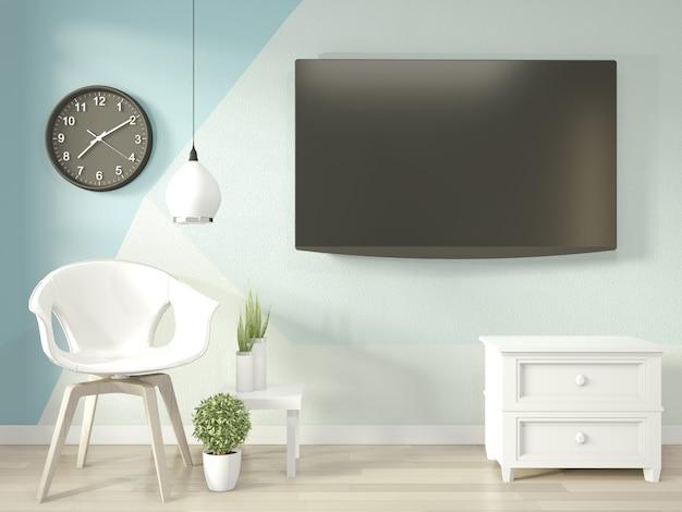 Идеи светло-синей и белой гостиной геометрическая wall art paint design color full style на деревянном полу