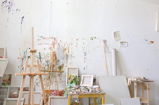 Wall in the artist's studio interior, workshop