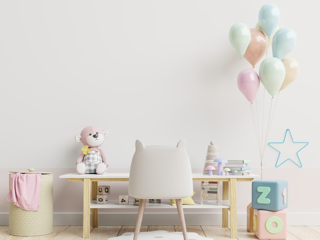 Wall in the children's living room in white wall .3d rendering
