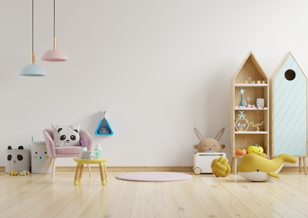 Wall in the children's room in light white color wall .3d rendering