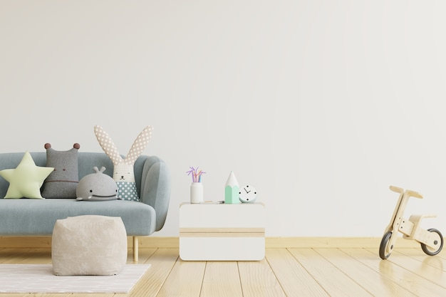 Wall in the children's room on wall white colors background.3d rendering