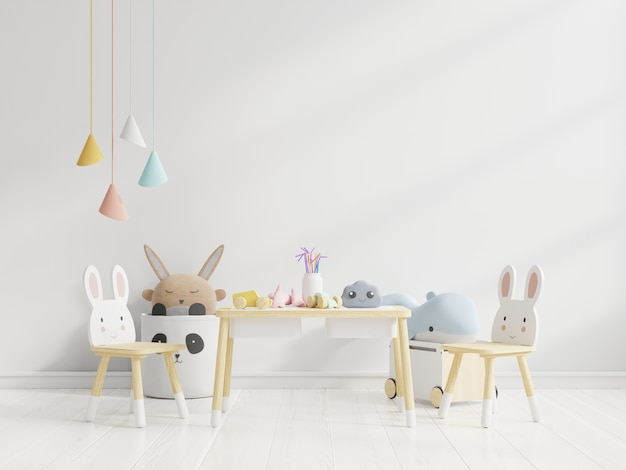 Wall in the children's room in white wall.3d rendering