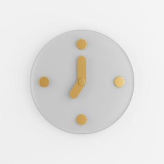 Значок настенных часов с золотыми стрелками. 3d-рендеринг серой круглой ключевой кнопки, элемента интерфейса ui ux.