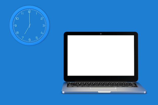 Wall clock and laptop computer with blank screen for your design on a blue background. 3d rendering