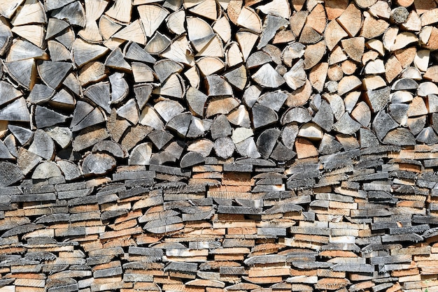 Wall of dark and light pile of firewood