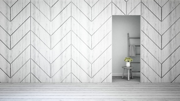 Wall decorate and white flower in home or apartment - 3d renderi