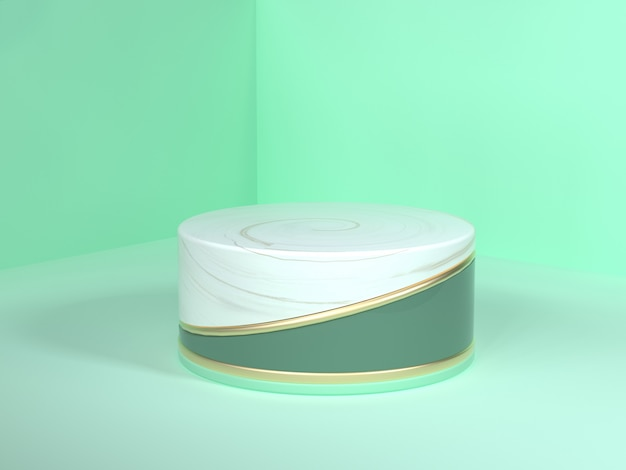 Wall floor corner green scene 3d rendering abstract gold white marble blank podium circle white gold green