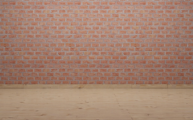 Wall and floor for photography. rustic brick wall and wooden laminate floor.