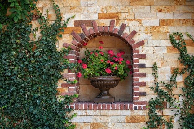 Настенный цветочный горшок с розовыми цветочными растениями открытый декоративный
