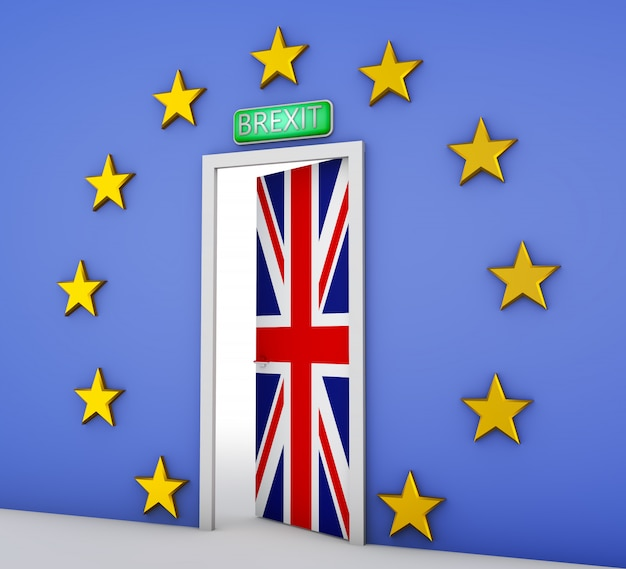 Wall in the form of a flag of the european union and a door with the flag of the great britain. 3d rendering.
