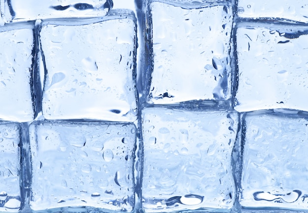 Wall of ice cubes. close up.