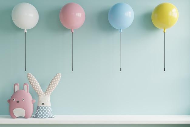 風船で子供部屋の壁