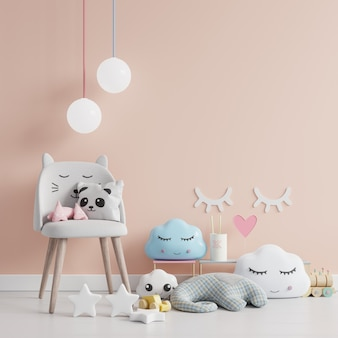 Стена в детской комнате со стулом в светло-кремовом цвете, 3d рендеринг