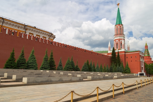 Wall of kremlin on red square in moscow.