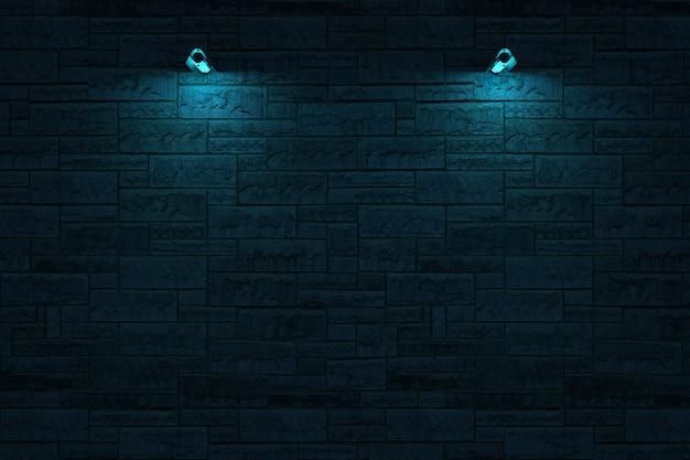 暗いレンガの壁の壁ランプ青い照明のランプの3dモデル現実的な壁ランプ