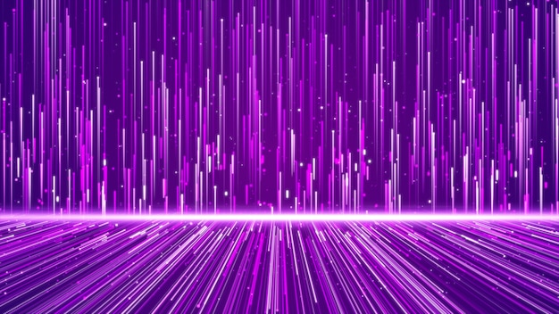 Wall of lines structure geometric shapes and particles purple color. creative design element abstract background.