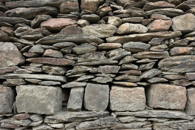 Wall made of natural stone. the texture of the stones that lie on top of each other.
