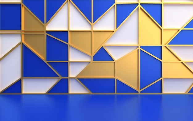 흰색, 파란색 삼각형, 3d 렌더링 황금 메쉬로 만든 벽