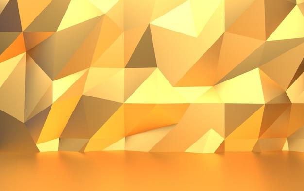 Стена из золотых треугольных многоугольников, 3d визуализация