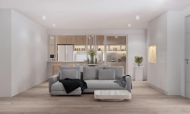 거실과 식료품 저장실 공간 및 목재 주방에서 벽을 조롱하십시오. 스칸디나비아 인테리어. 3d 렌더링, 3d illustratio