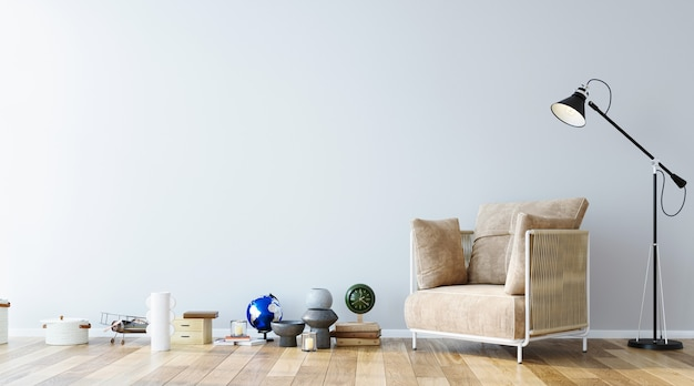 フローリングの装飾セットと家具の3dレンダリングを備えたシンプルなインテリアデザインの壁モックアップ