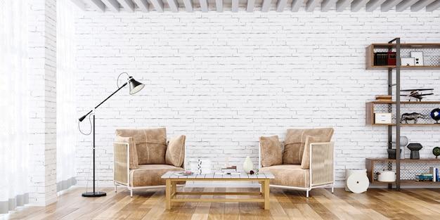アームチェアと棚の3dレンダリングを備えた白いシンプルなインテリアの壁のモックアップ
