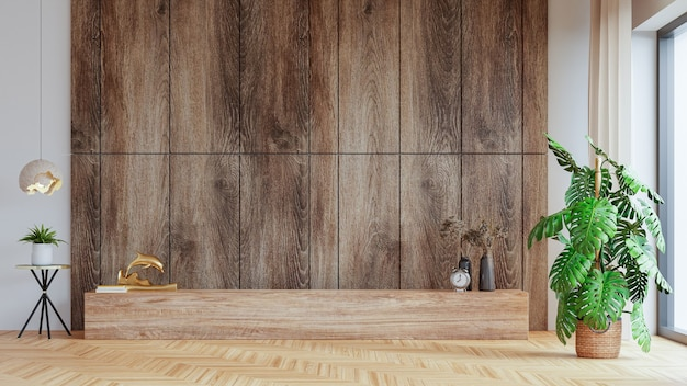 Modello di parete in soggiorno moderno con decorazione su sfondo di parete in legno, rendering 3d