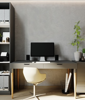 Wall mockup in office interior background, workplace 3d render