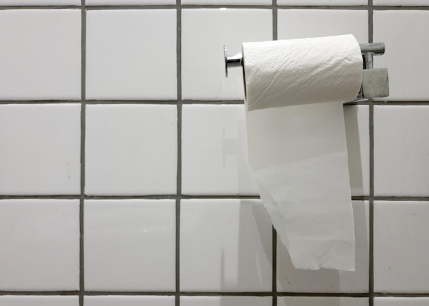 Wall mount tissue paper at tile wall in the toilet