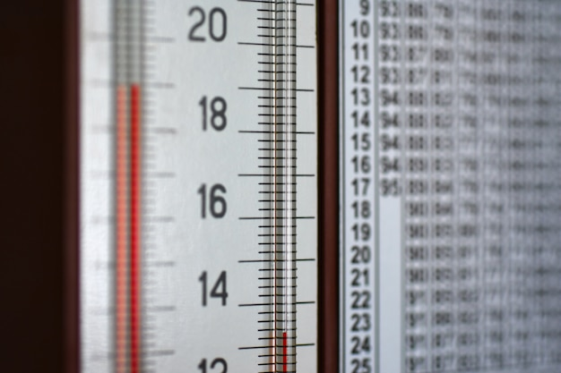 Wall mounted hygrometer thermometer shows a column of temperature and humidity