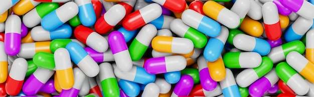Стена красочных таблеток