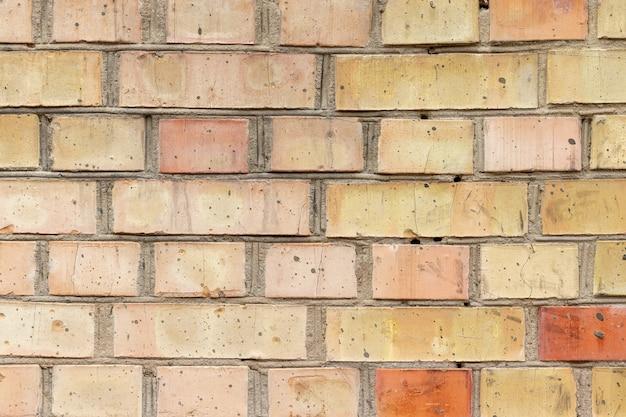 古いオレンジ色の赤いひびの入ったレンガの壁