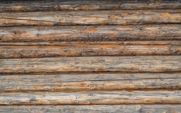 Wall of old logs, macro. background, texture