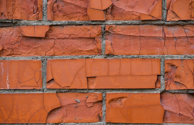 Wall of red bricks. brick texture, beautiful background