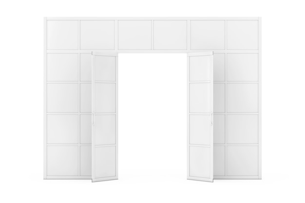 벽, 흰색 배경에 클레이 스타일의 문이 있는 룸 디바이더. 3d 렌더링