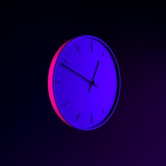 Wall round clock neon icon. 3d rendering ui ux interface element. dark glowing symbol.