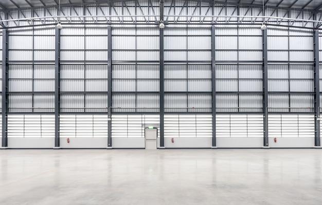 Wall siding of huge empty warehouse