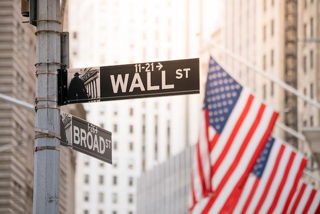 Wall street sign in lower manhattan new york, usa