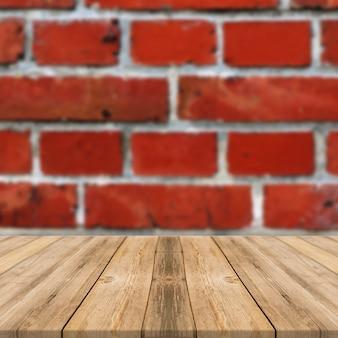 빨간 타일과 나무 테이블이 있는 벽 광장 디스플레이 배경