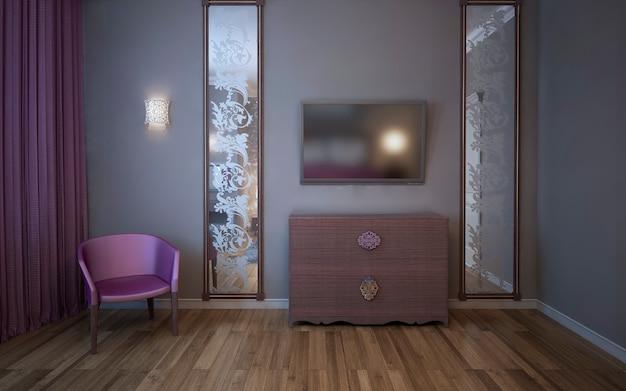 テレビ付きの壁、大きな縦型の鏡、ピンクのカーテン、寝室のアームチェア