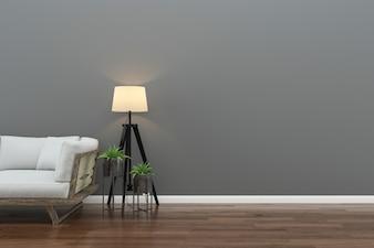 Wall wood floor interior sofa chair lamp interior 3d living room