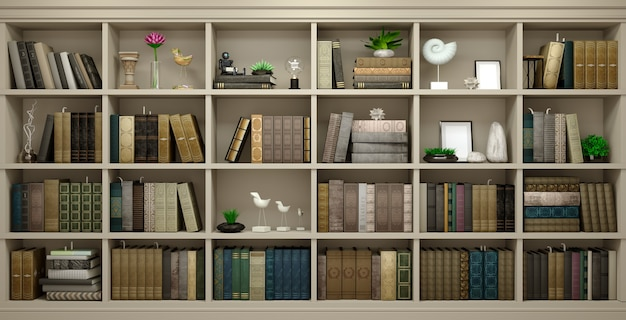 Wall wooden background classical library books or library study or living room, education