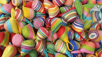 Wallet weave make from colorful of sisal lay piled on the floor