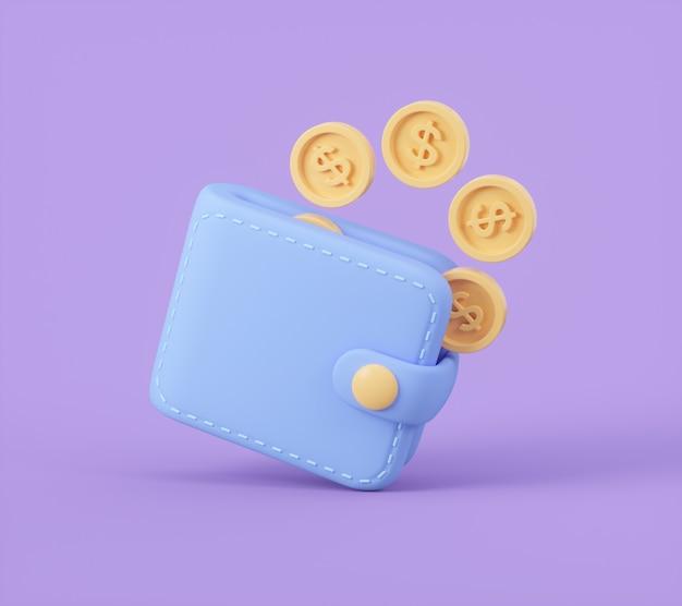 Wallet with cash money 3d illustration
