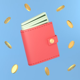 Wallet with cash, red purse and money.