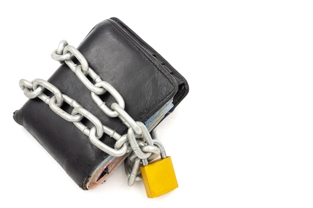 Wallet with chain and padlock on a white background. concept of finance security